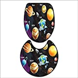 qianhehome 2 Piece Bathroom Rug Set Solar System of Planets Milk Way Neptune Venus Mercury Sphere Horizontal Illustration Mat Non Slip Toilet Lid Toilet 16''x19''-D28