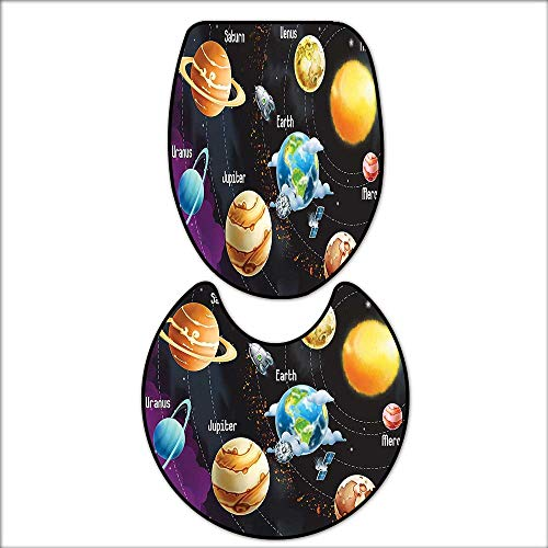 qianhehome 2 Piece Bathroom Rug Set Solar System of Planets Milk Way Neptune Venus Mercury Sphere Horizontal Illustration Mat Non Slip Toilet Lid Toilet 16''x19''-D28 by qianhehome