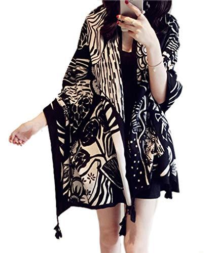 Women's Boho Bohemian Soft Blanket Oversized Fringed Scarf