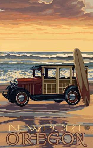 Northwest Art Mall Newport Oregon Car Woodie Surfboard Unframed Prints by Paul A Lanquist, 11-Inch by 17-Inch
