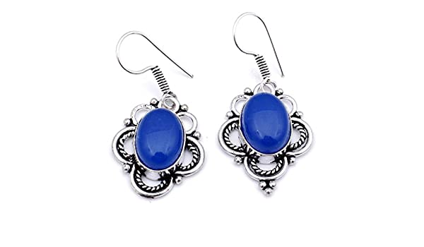 Exotic Wear Blue Chalcedony Sterling Silver Overlay Earring 1.75 Handmade Jewelry
