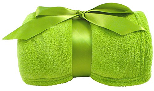 Simplicity Super Comfy Soft and Warm Plush Sherpa Throw Blankets, Lime Green (Size Anime Blanket Full)
