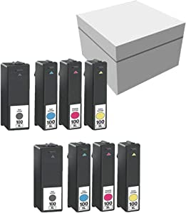 Lexmark 100XL 14N1068 14N1069 14N1070 14N1071 2 Sets High Yield Black Cyan Magenta Yellow Compatible Inkjet/Ink Cartridge -8PK