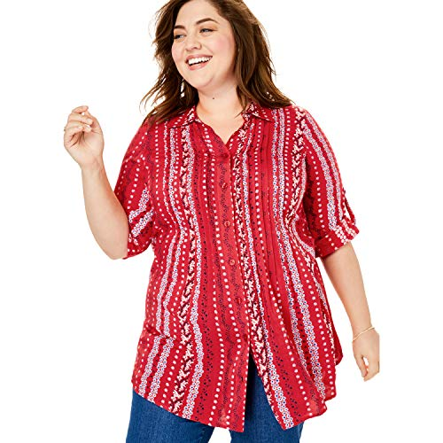 (Woman Within Women's Plus Size Pintucked Print Tunic Shirt - Vivid Red Linear Ditsy, 4X)