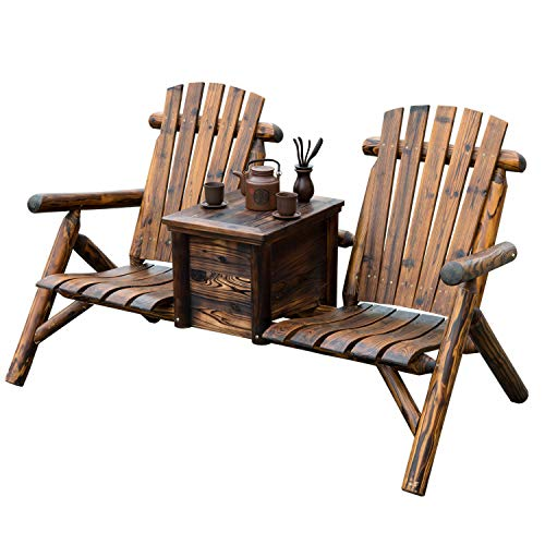 (totoshopbenches Outdoor Patio 2 Person Double Adirondack Wood Bench Chair Loveseat W/Ice Bucket)