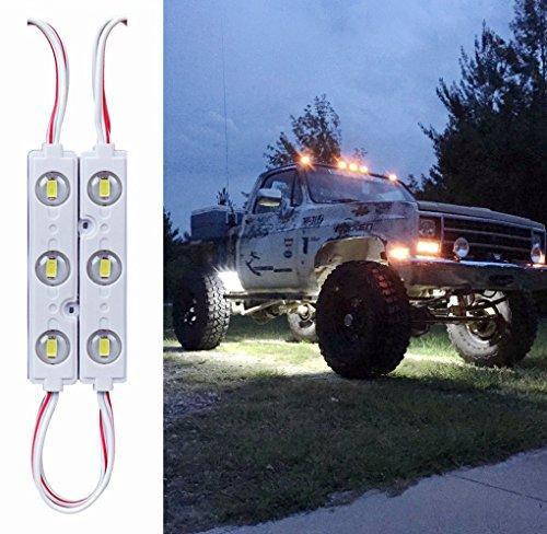 10 Pack 12V 5730 3 LEDs Rock Lights for Truck, Universal LED Bed Rail Light Kit for Van Boats Caravans Trailers