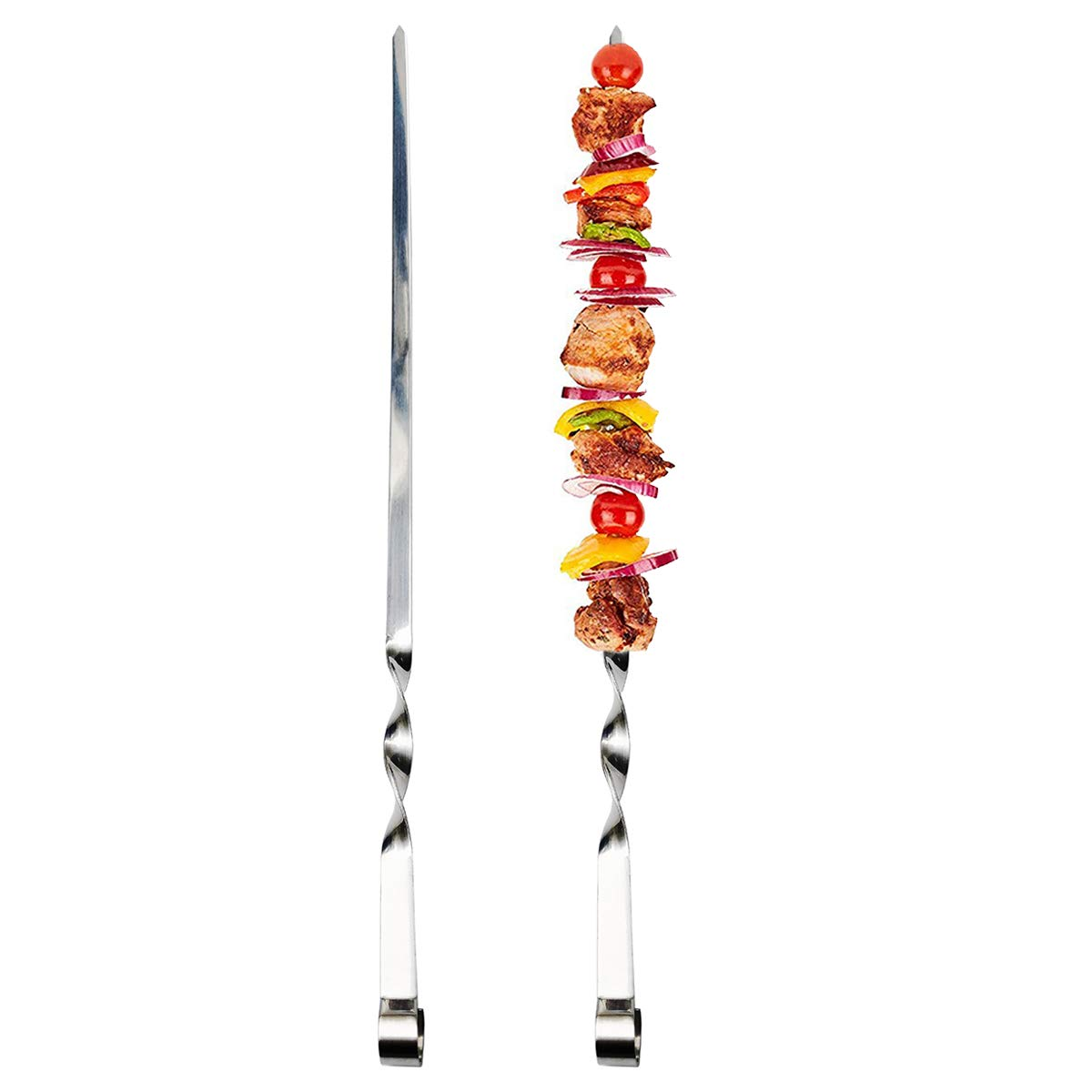 Antallcky 12 Pack Kabob Skewers BBQ Barbecue Skewers Stainless Steel Sticks 22 Inch Heavy Duty Large Wide Reusable with Nonslip Ring Handle Ideal for Shish Kebab Chicken Shrimp and Vegetables