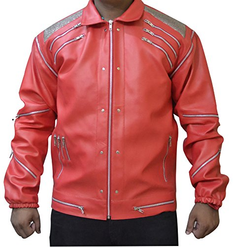 MJ beat it Michael Jackson Leather Jacket RED FAUX Leather , XL (Beat It Jacket)