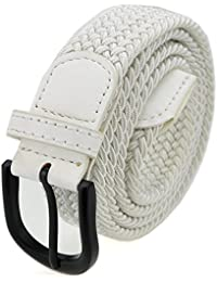 Stretch Braided Belt Elastic Braided Belt with Pin Oval Solid Black Buckle and Leather Loop End Tip for Men/Women...