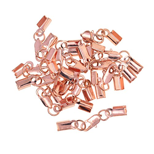 Homyl 12 Sets Ribbon Cord End Tips Caps Fold Over Crimps Clamp Clips Connectors with Lobster Clasp End Clamps Jewelry Making Findings Accessories - Rose gold - Gold Fold Over Clasp