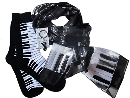 (Ladies Music Gift Set: Scarf, Socks & Key Ring (Black Piano))