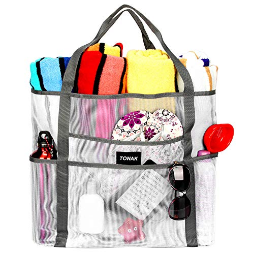 Mesh Beach Bag Toy Tote Bag Grocery Storage Net Bag Oversized Big XL with Pockets Foldable Lightweight for Family Pool White Color