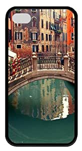 Venice Italy TPU Silicone Rubber Soft Back Case Cover for iPhone 4/4s - Black