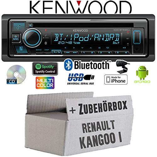 Einbauset Autoradio Radio Kenwood KDC-BT530U Bluetooth iPhone Android Spotify CD//MP3//USB Einbauzubeh/ör Renault Kangoo 1