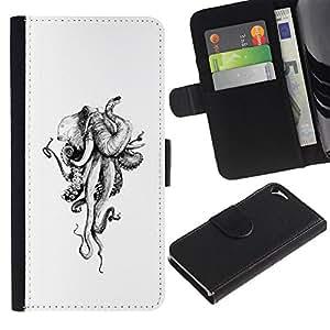 Monster Pulpo Blanco Marfil- la tarjeta de Crédito Slots PU Funda de cuero Monedero caso cubierta de piel Para Apple iPhone 5 / iPhone 5S