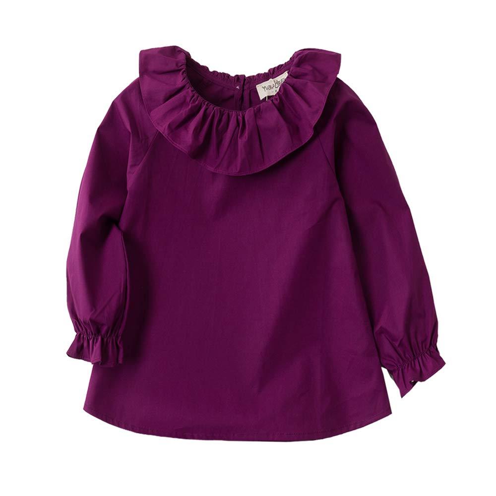 VIYOO Little Girls Blouse Cotton Long Sleeve Lotus Leaf Collar 2-7Year