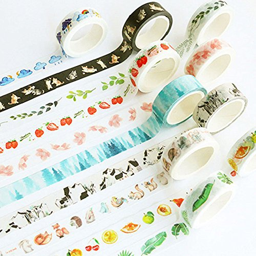 Washi Tape Skinny Colored Masking Tape with Cute Pattern Labelling Tape Graphic Art Tape Roll for Fun Great for DIY Decor Scrapbooking Sticker Masking Paper Decoration Tape Adhesive (Forest) by paway (Image #1)