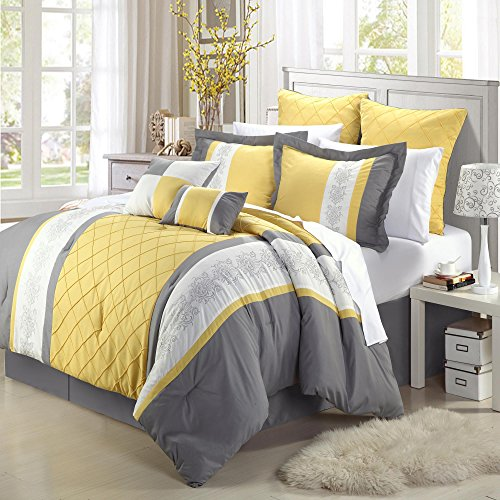 Chic Home 8-Piece Embroidery Comforter Set, Queen, Livingston Yellow (Blue Yellow Gray Bedding)