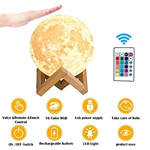 HOKEKI Moon lamp, 3D Print LED Moon Light Lamp Moon Light for Kids, Dimmable Touch Control Brightness Light for Home Decoration and Gifts for Lover,Parents,Friends, 16 RGB Color 15cm