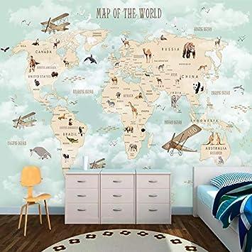 3d Del Fumetto Murale Wallpaper Moderno Mappa Del Mondo Foto Pittura Murale Camera Da Letto Per Bambini Ragazzi E Ragazze Sfondo Decorazione Della Parete Di 3d Murale Cchpfcc 400x280cm Amazon De Baumarkt