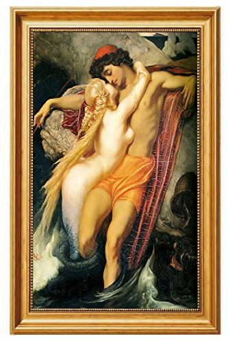Eliteart-The Fisherman and the Syren by Frederic Leighton Oil Painting Reproduction Giclee Wall Art Canvas Prints-Framed Size:22 1/4