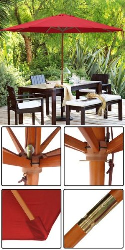 13 ft Wood Patio Outdoor Furniture Umbrella Red