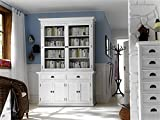 NovaSolo Halifax Pure White Mahogany Wood Glass Doors Hutch Buffet With Storage And 2 Drawers