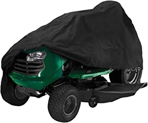 FLYMEI Lawn Mower Cover, 54 Inch Riding Lawnmower Cover Waterproof UV Resistant Cover for Ride-On Garden Tractor Universal Fit with Drawstring & Cover Storage Bag