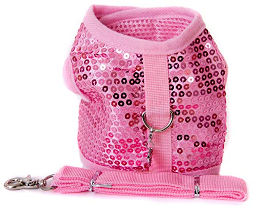 Lushpetz Pink Glitter Sparkly Sequin Dog Harness with Matching Leash Comes with Free Diva Charm Set for XSmall and Small Dogs (Size 2 fits Chest 14