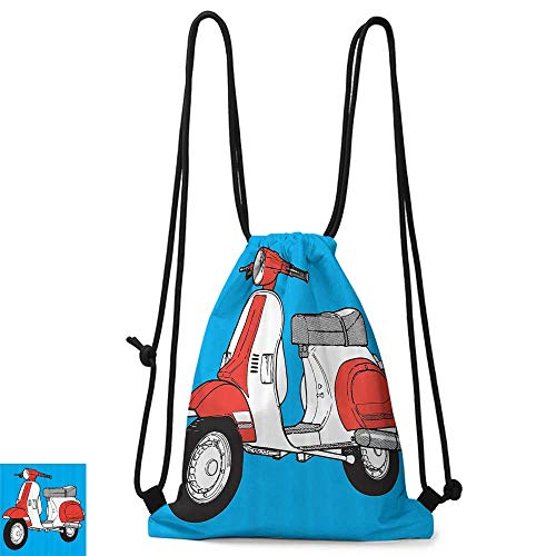 Outdoor sports backpack Funky Decor Cute Scooter Motorcycle Retro Vintage Vespa Soho Wheels Rome Graphic Print W14