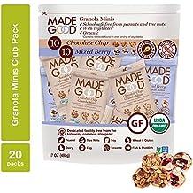 MadeGood Granola Minis Club Pack (20 ct, 0.85 oz. each); 10 Bags Chocolate Chip and 10 Bags Mixed Berry Granola Minis; School-Safe, Vegan, Gluten-Free, Allergy-Friendly, Organic, Non-GMO Snacks