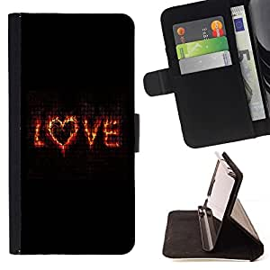 Momo Phone Case / Flip Funda de Cuero Case Cover - El amor de San Valentín Flaming texto Corazón Negro - Motorola Moto E ( 1st Generation )