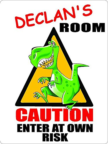 "ANY AND ALL GRAPHICS Declan Caution Enter Dinosaur Kids Room Door décor Sign 7""X10"" Plastic"