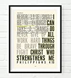 i can do hard things - I Can Do All Things Philippians 4:13 Christian UNFRAMED Art PRINT,Vintage Bible verse scripture dictionary wall & home decor poster, Inspirational gift, 5x7 inches