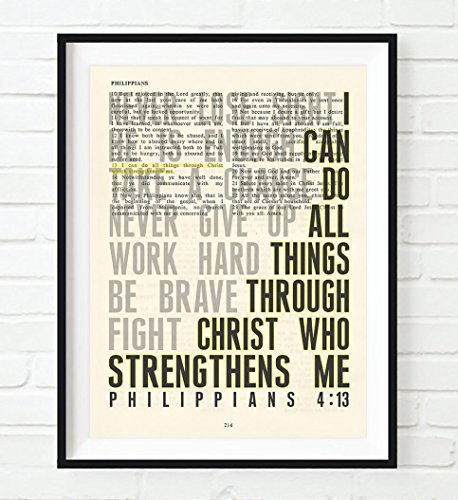 I Can Do All Things Philippians 4:13 Christian UNFRAMED Art PRINT,Vintage Bible verse scripture dictionary wall & home decor poster, Inspirational gift, 11x14 (Bible Verse For Graduation)