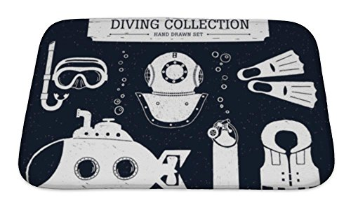 Scuba Foam - Gear New Bath Mat For Bathroom, Memory Foam Non Slip, Hand Drawn Diving Collection Of Elements On Black Scuba Mask Helmet Oxygen, 24x17, 4993681GN