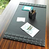 Black Silver Studded Leather Desk Blotter Pad | Mid Century Modern Office