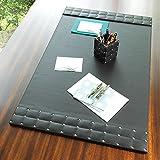 Black Silver Studded Leather Desk Blotter Pad   Mid Century Modern Office