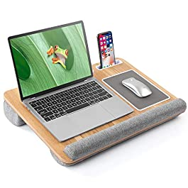 LORYERGO Lap Desk – Portable Laptop Desk Fits Up to 17 Inch Laptop, Laptop Stand with Built in Mouse Pad & Wrist Rest…