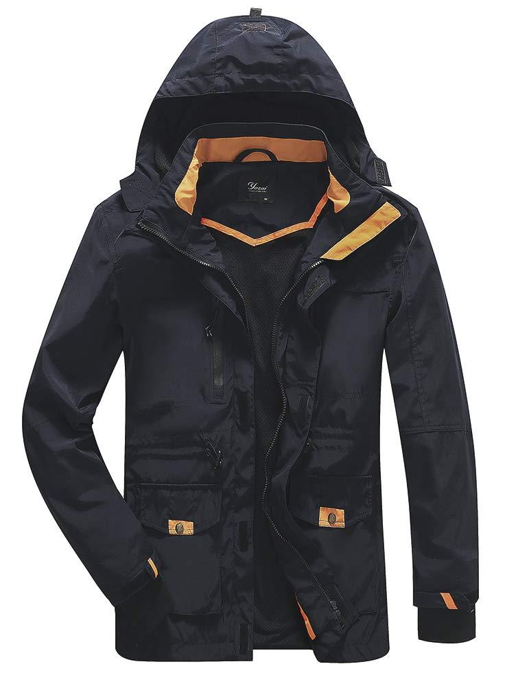 Yozai Waterproof Jacket, Men's Hooded Mountain Waterproof Rain Jacket Outdoor Windproof Jacketcoat Blue XL