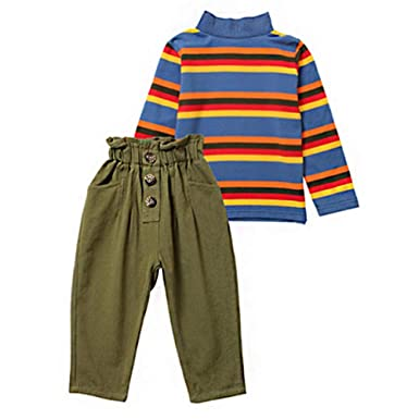 c35c1e985e Amazon.com: LNGRY Baby Outfits,Toddler Infant Kid Girls Rainbow Striped  Turtleneck Tops+Ruched Button Pants Costume: Clothing