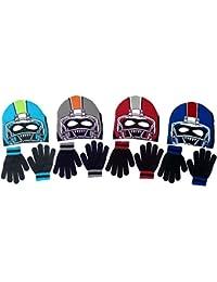 Boy's Polar Wear Monster Football Player Knit Beanie with Eye Holes & Gloves Set