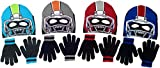 Polar Wear Boy's Monster Football Player Knit Beanie with Eye Holes & Gloves Set (Red-Black)
