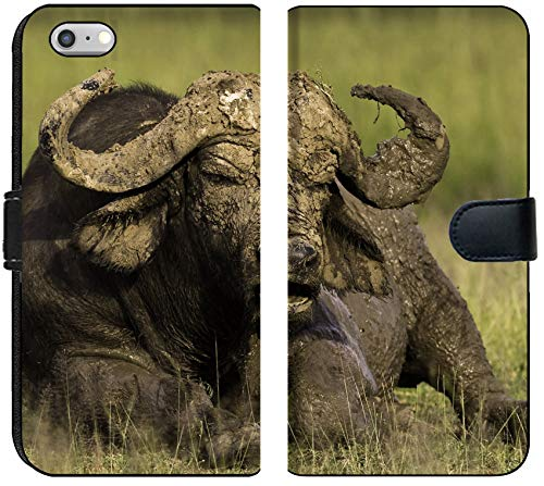Liili iPhone 6 Plus and iPhone 6S Plus Flip Micro Fabric Wallet Case African Cape Buffalo Photo 20215705 ()