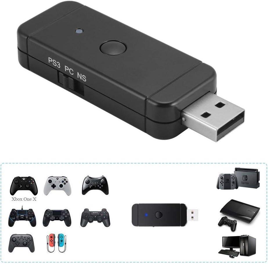 Maikiki New Adaptador de Controlador inalámbrico para Xbox / PS3 / PS4 / Adaptador de Controlador de Nintendo para Nintendo Switch PS3 y PC con Windows