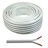2 x 0.50mm Speaker Cable Wire4U Figure 8, Quality, 50 Strands Wire In 10 20 50 100 Metres (20 metres, White)