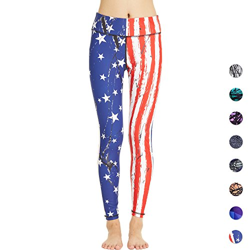 COOLOMG Women's Yoga Long Pants Compression Drawstring Running Tights Non See-Through Leggings USA Flag Adults Medium For Sale