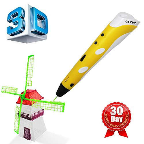 Glyby Intelligent 3D Printing Pen, 3D Drawing Model Making Arts & Crafts Drawing, ABS Fibrous Material and Power