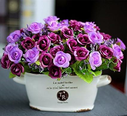 Flores de seda tallo haz de Paisley plástico Emulación de flores floral caja joyería Swing en