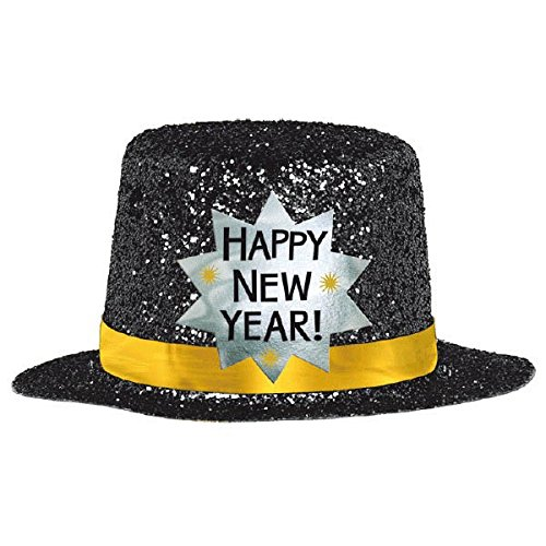 amscan New Year Mini Black Glitter Plastic Top Hat | Party Accessory - Happy New Year Top Hat